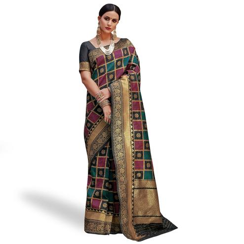 Fantastic Multi Colored Festive Wear Woven Silk Saree