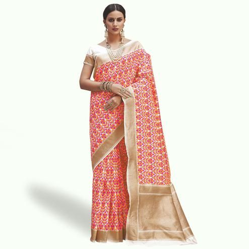 Blissful Orange Colored Festive Wear Woven Silk Saree