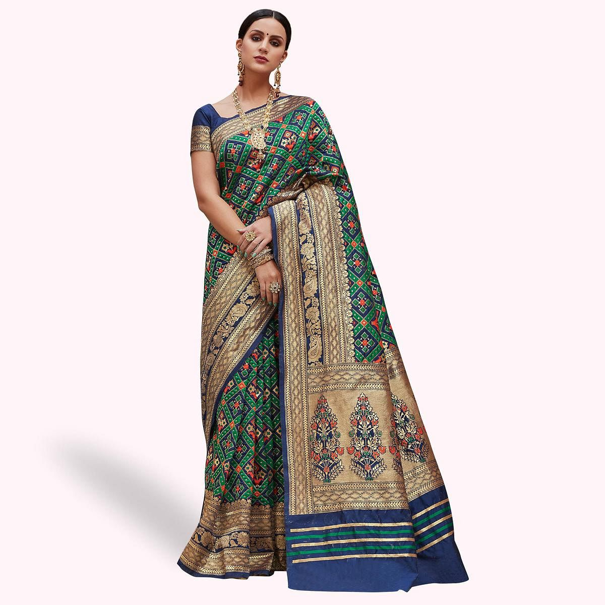Ideal Navy Blue - Green Colored Festive Wear Woven Silk Saree