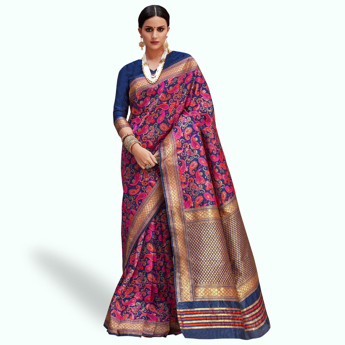 Lovely Navy Blue - Pink Colored Festive Wear Woven Silk Saree