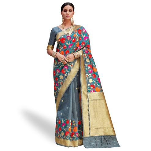 Majesty Gray Colored Festive Wear Woven Silk Saree