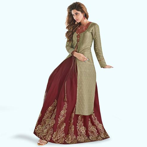 Pretty Mehendi Green-Maroon Colored Partywear Printed Raw Silk Lehenga With Koti