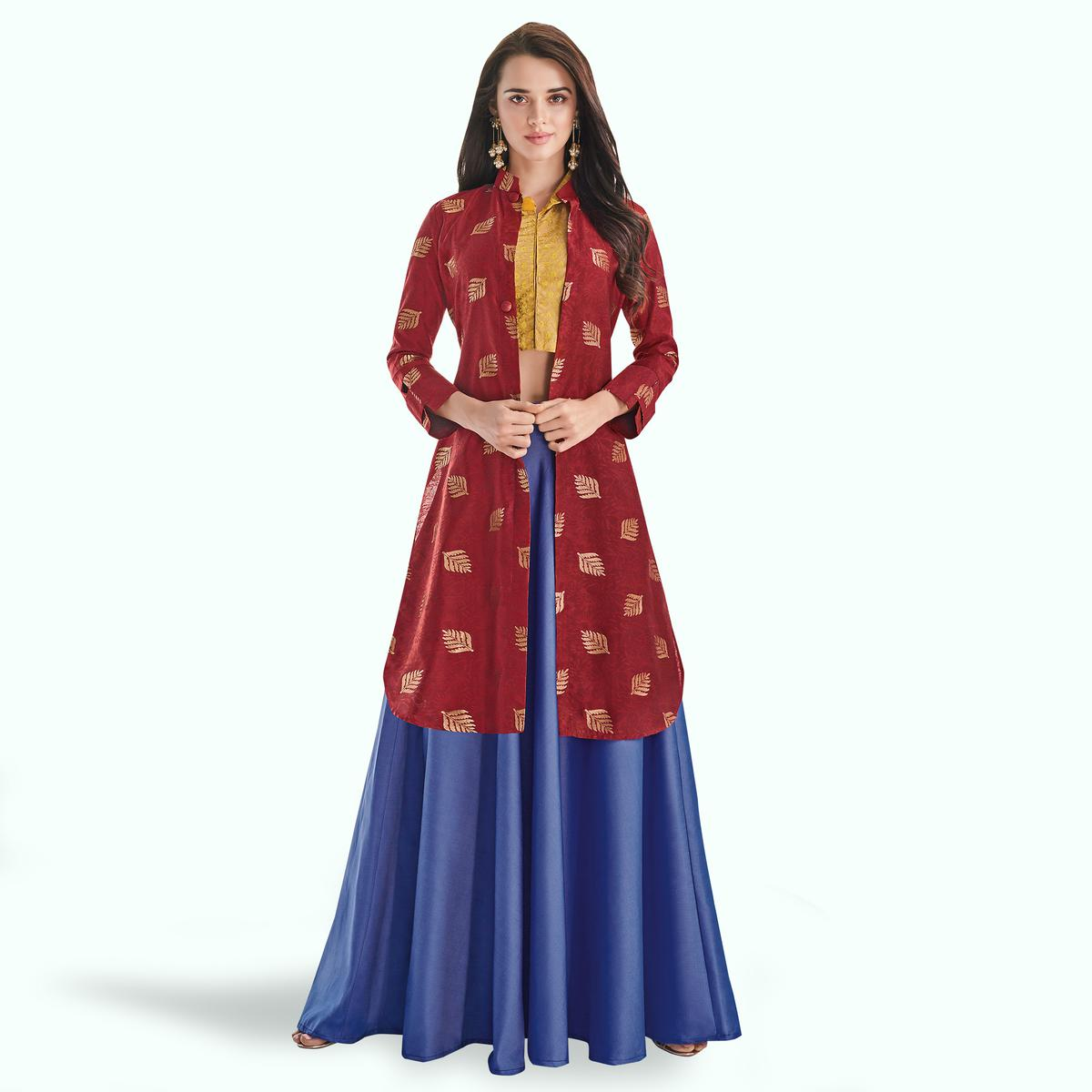 Alluring Red-Blue Colored Partywear Printed Art Silk Lehenga With Koti