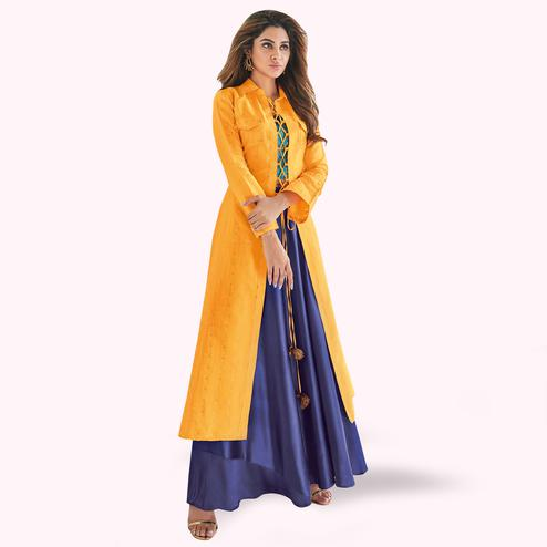 Sensational Yellow-Navy Blue Colored Partywear Printed Raw Silk Lehenga With Koti