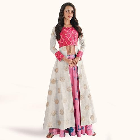 Flaunt Off White-Pink Colored Partywear Printed Raw Silk Lehenga With Koti