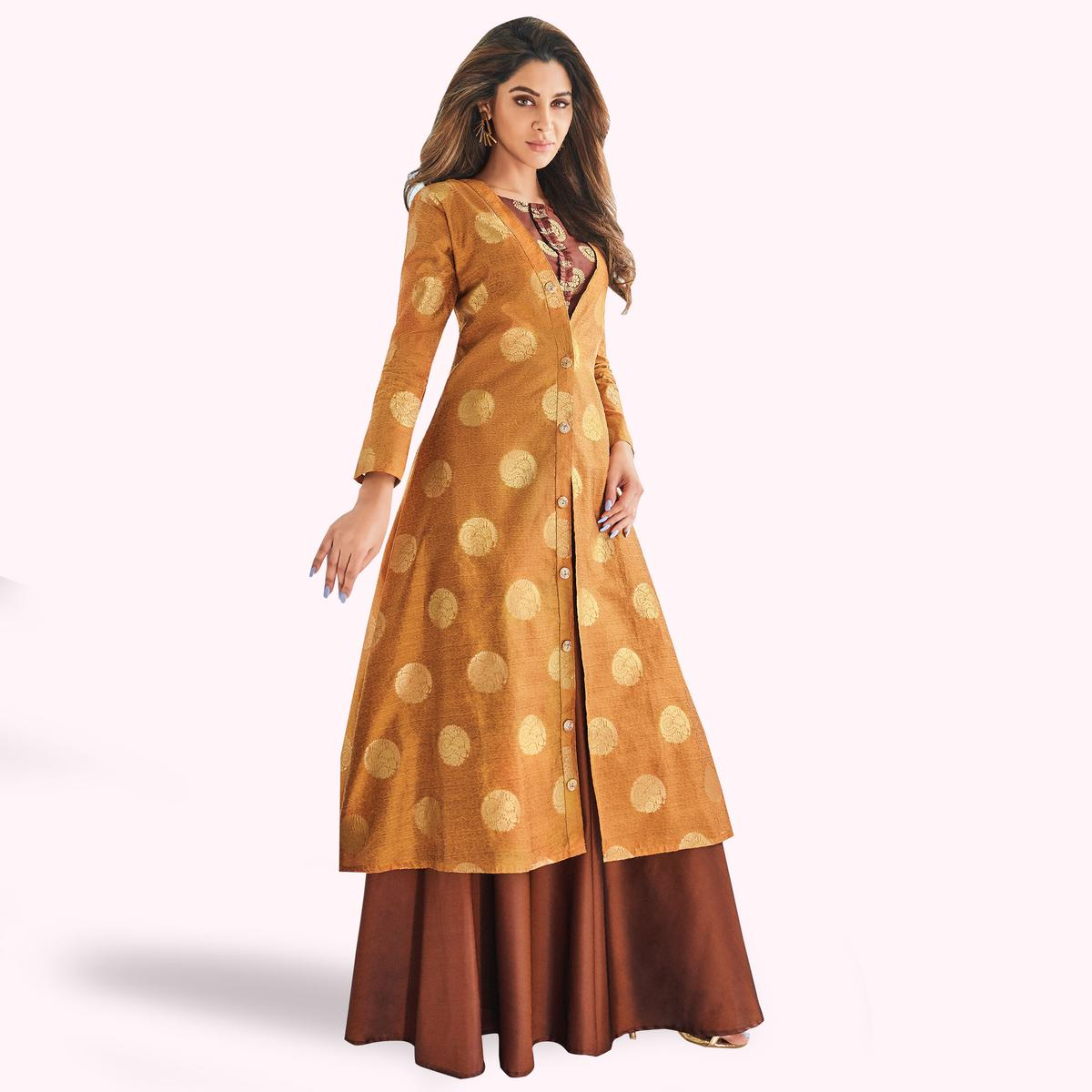 Stunning Mustard Yellow-Brown Colored Partywear Printed Raw Silk Lehenga With Koti