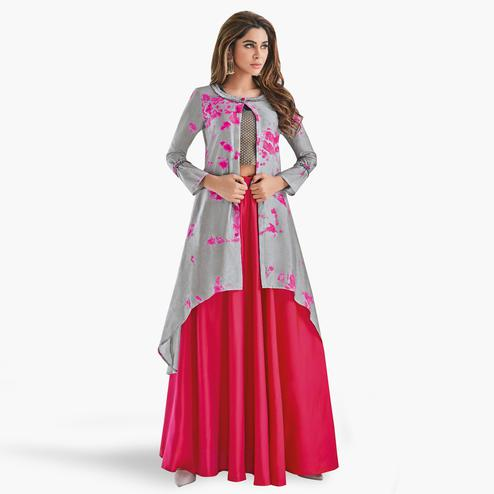 Flirty Gray-Hot Pink Colored Partywear Printed Art Silk Lehenga With Koti