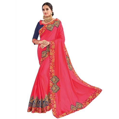 Sophisticated Pink Colored Party Wear Embroidered Raw Silk Saree