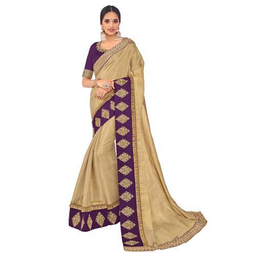 Trendy Beige Colored Party Wear Embroidered Banarasi Silk Saree