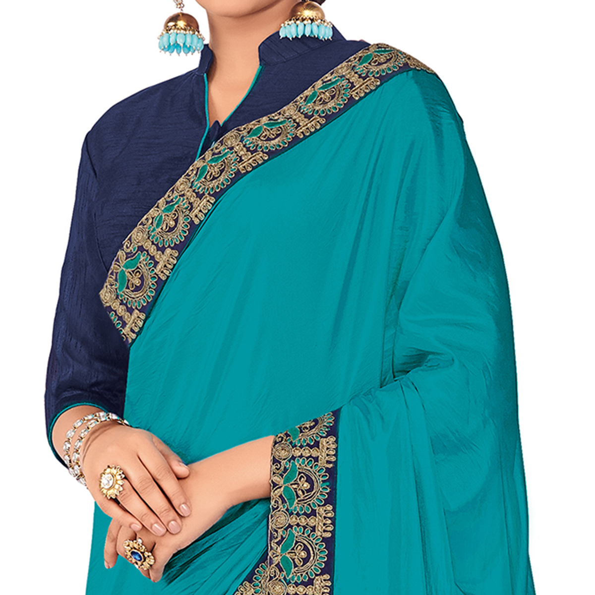 Elegant Blue Colored Party Wear Embroidered Raw Silk-Georgette Saree