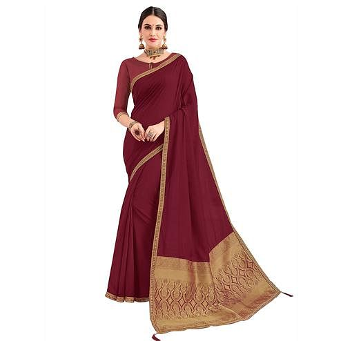 Pleasant Wine Colored Party Wear Embroidered Silk Saree