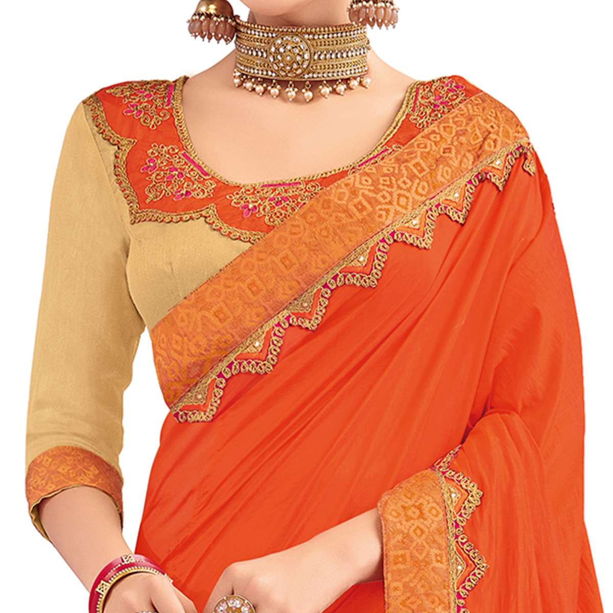Opulent Orange And Beige Colored Party Wear Embroidered Raw Silk-Silk Saree