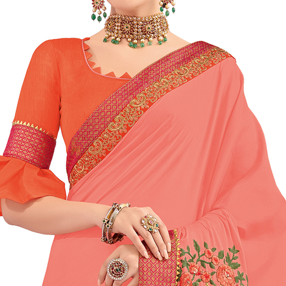 Energetic Peach Colored Party Wear Embroidered Georgette Saree