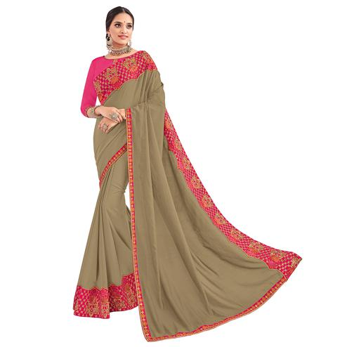 Exceptional Beige Colored Party Wear Embroidered Silk Saree