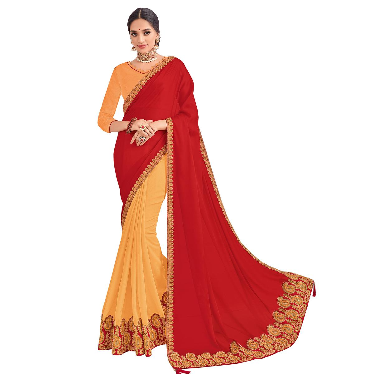 Gleaming Red And Orange Colored Party Wear Embroidered Georgette-Silk Saree