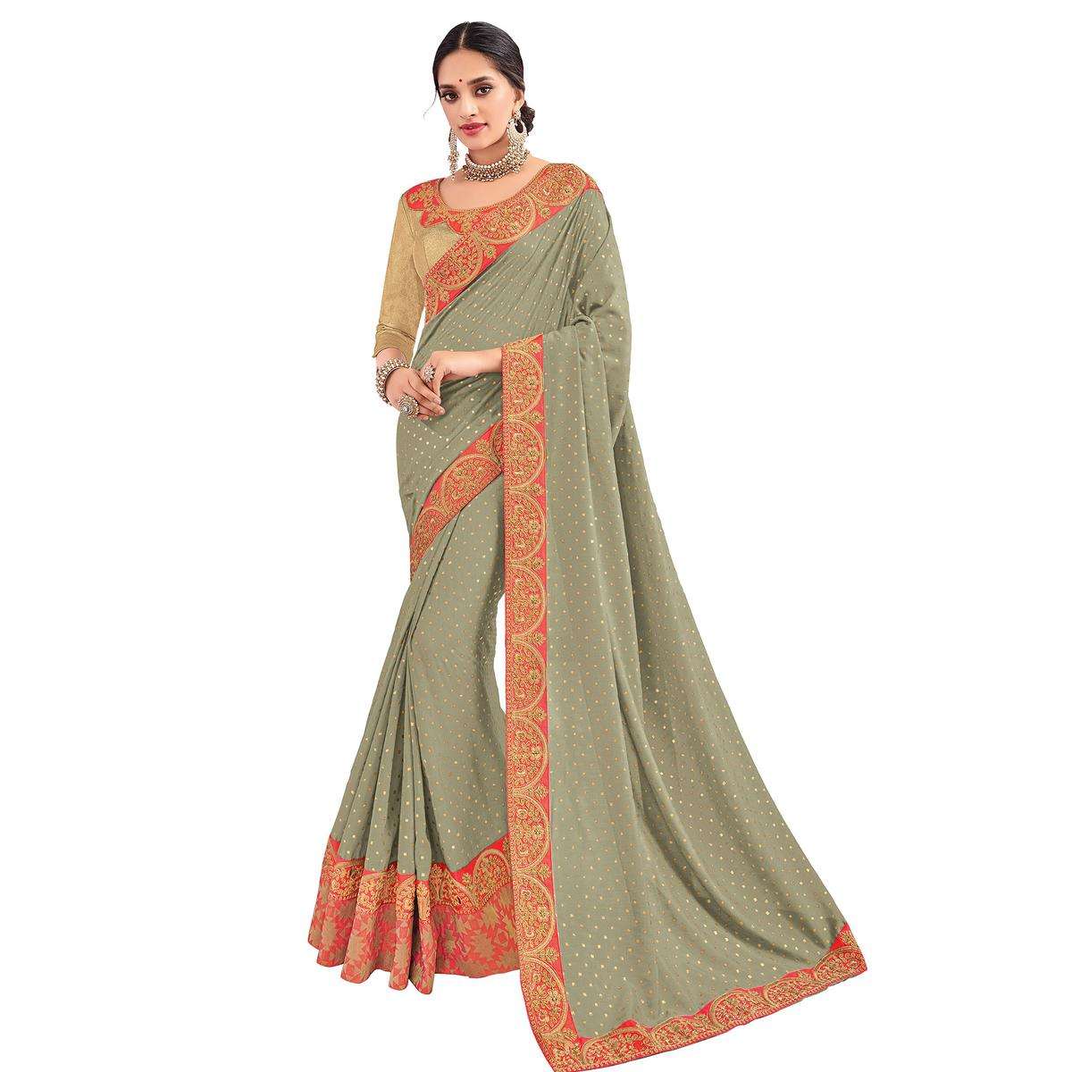 Mesmeric Grey Colored Party Wear Embroidered Silk Saree