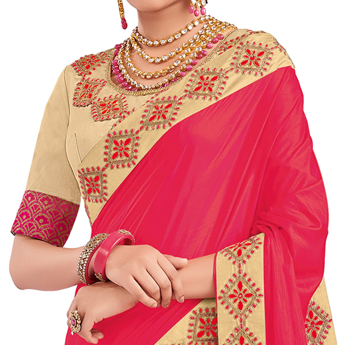 Unique Pink And Beige Colored Party Wear Embroidered Raw Silk-Silk Saree