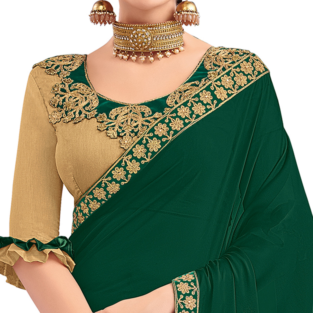 Refreshing Dark Green Colored Party Wear Embroidered Georgette Saree