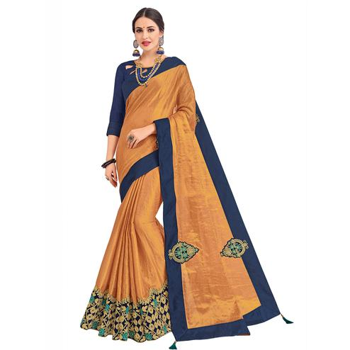 Magnetic Rust Orange Colored Party Wear Embroidered Banarasi Silk Saree