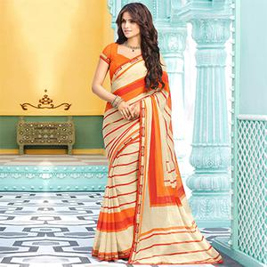 Cream-Orange Casual Printed Chiffon Saree