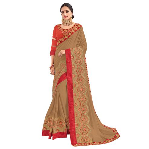 Excellent Light Brown Colored Party Wear Embroidered Georgette Saree