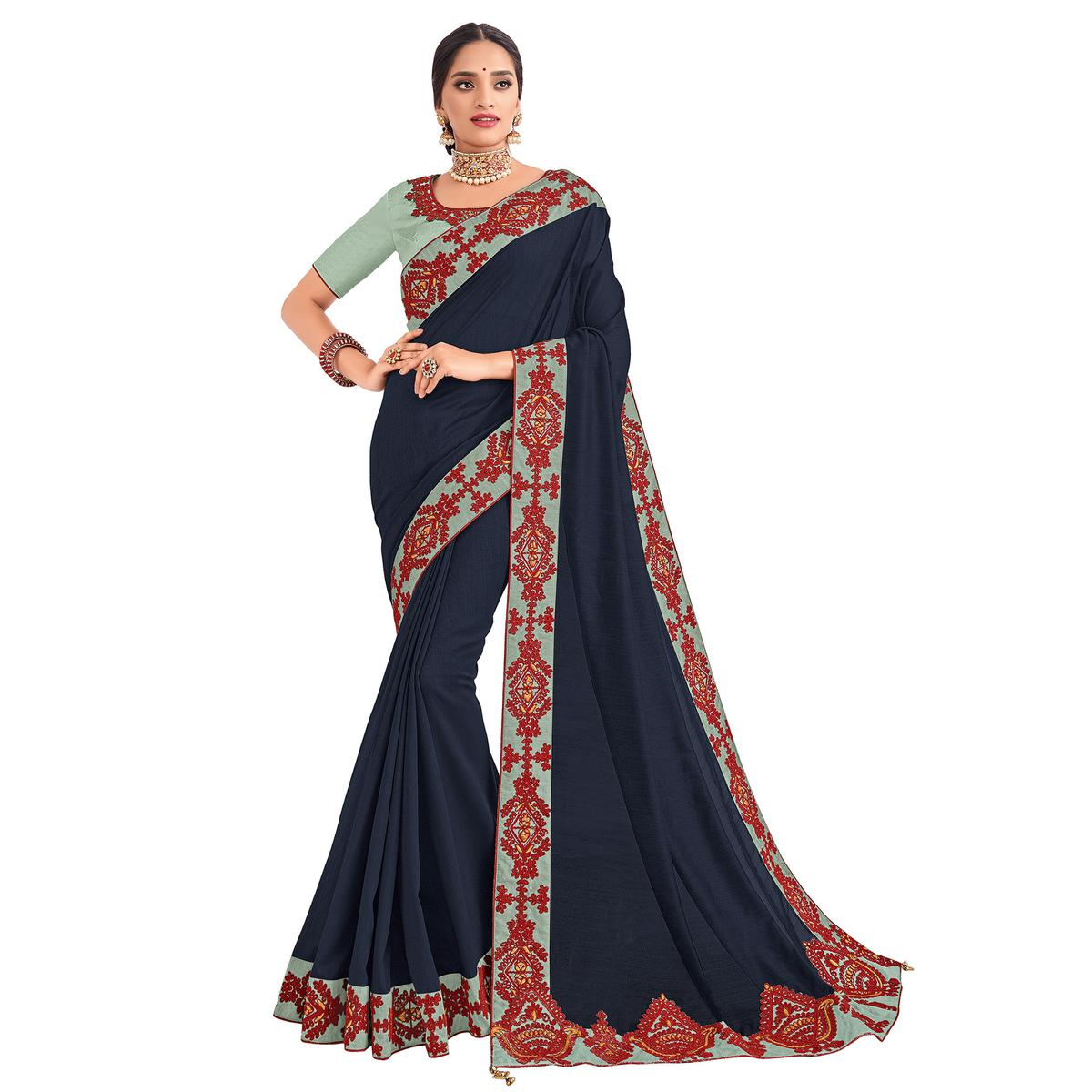 Preferable Navy Blue Colored Party Wear Embroidered Silk Saree