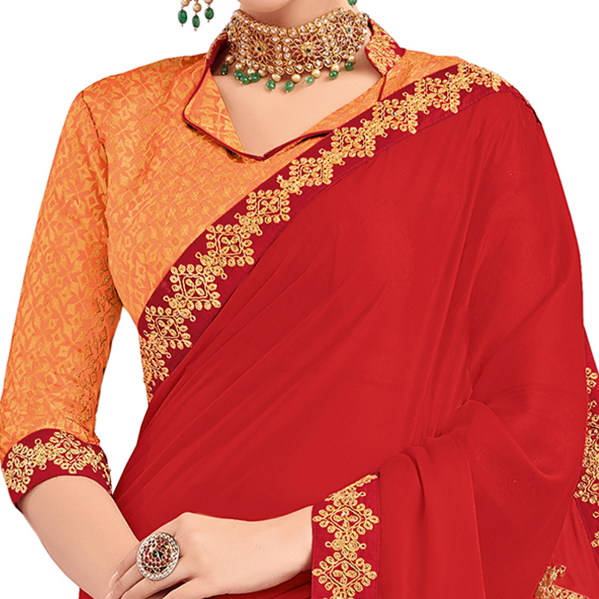 Marvellous Red Colored Party Wear Embroidered Silk Saree