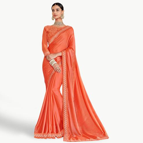 Mesmeric Dark Peach Colored Party Wear Embroidered Silk Saree
