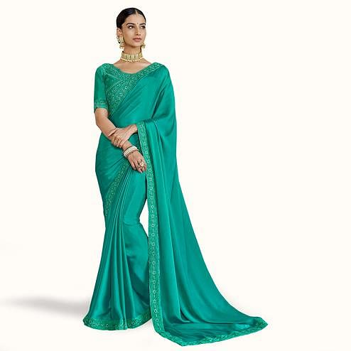 Unique Turquoise Green Colored Party Wear Embroidered Silk Saree