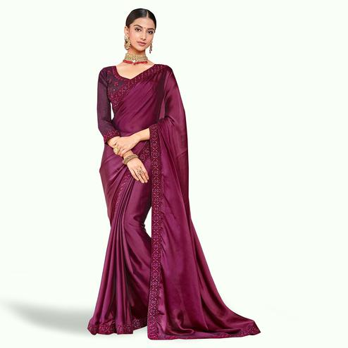 Demanding Dark Wine Colored Party Wear Embroidered Silk Saree