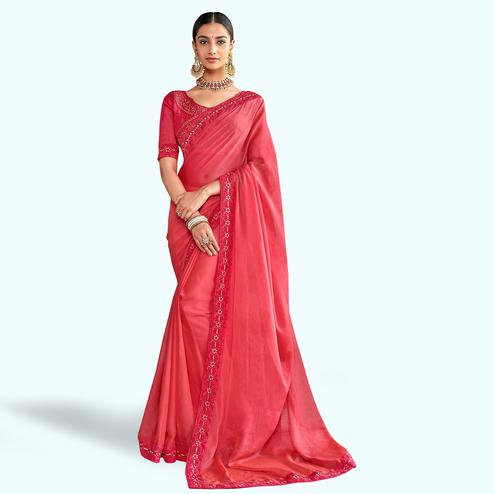 Magnetic Pink Colored Party Wear Embroidered Silk Saree