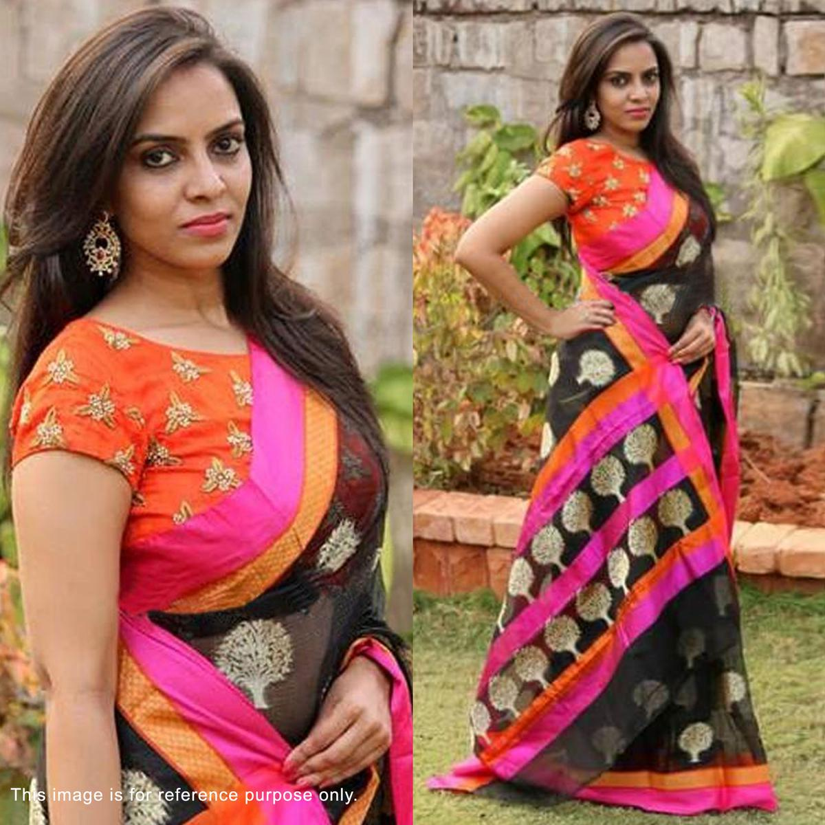 29024425a6319 Buy Black Banglori Silk Saree with Embroidered Blouse online India ...