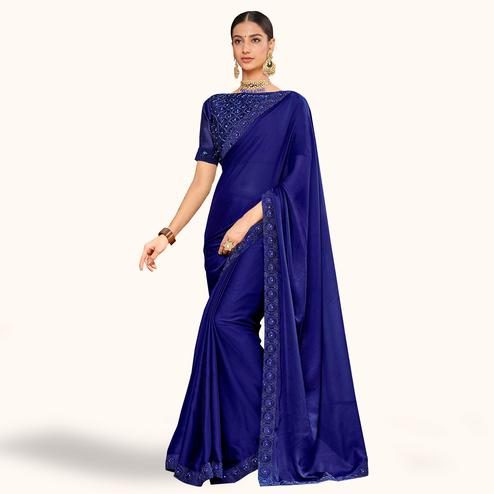 Hypnotic Navy Blue Colored Party Wear Embroidered Silk Saree