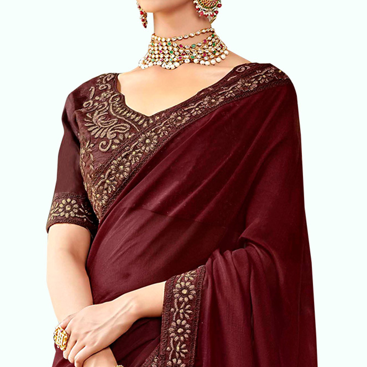 Flattering Brown Colored Party Wear Embroidered Silk Saree