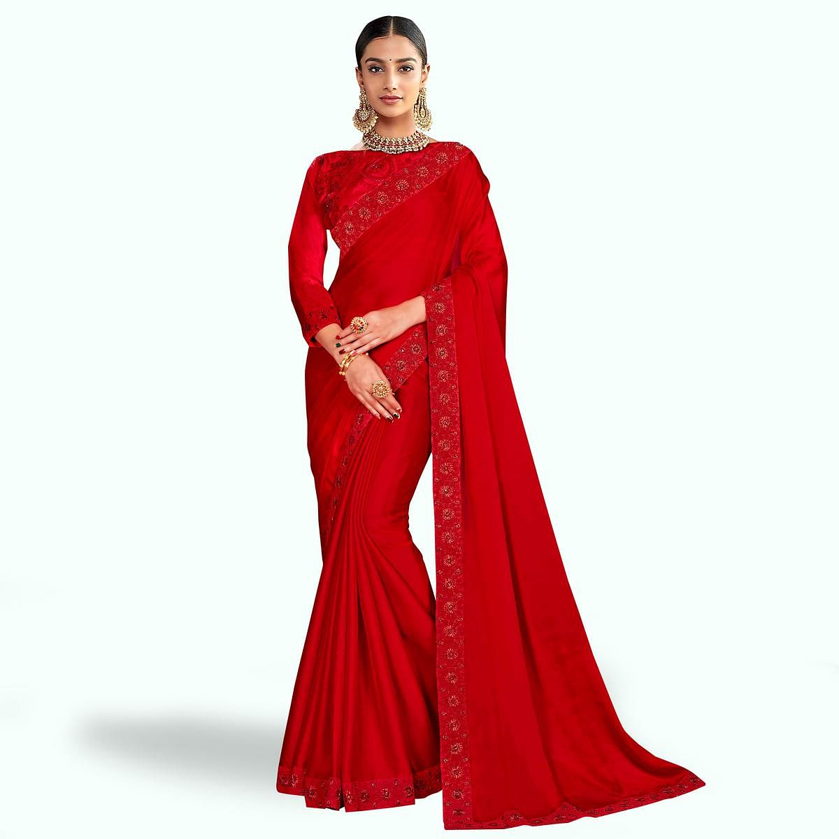 Excellent Red Colored Party Wear Embroidered Silk Saree