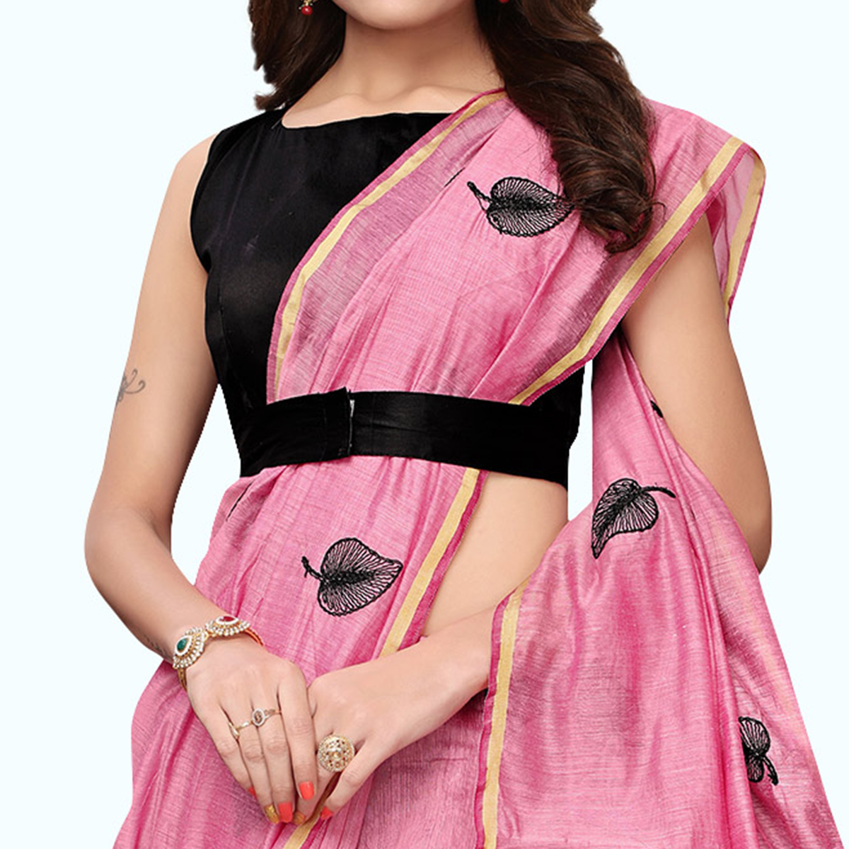Impressive Pink Colored Party Wear Embroidered Chanderi Silk Saree