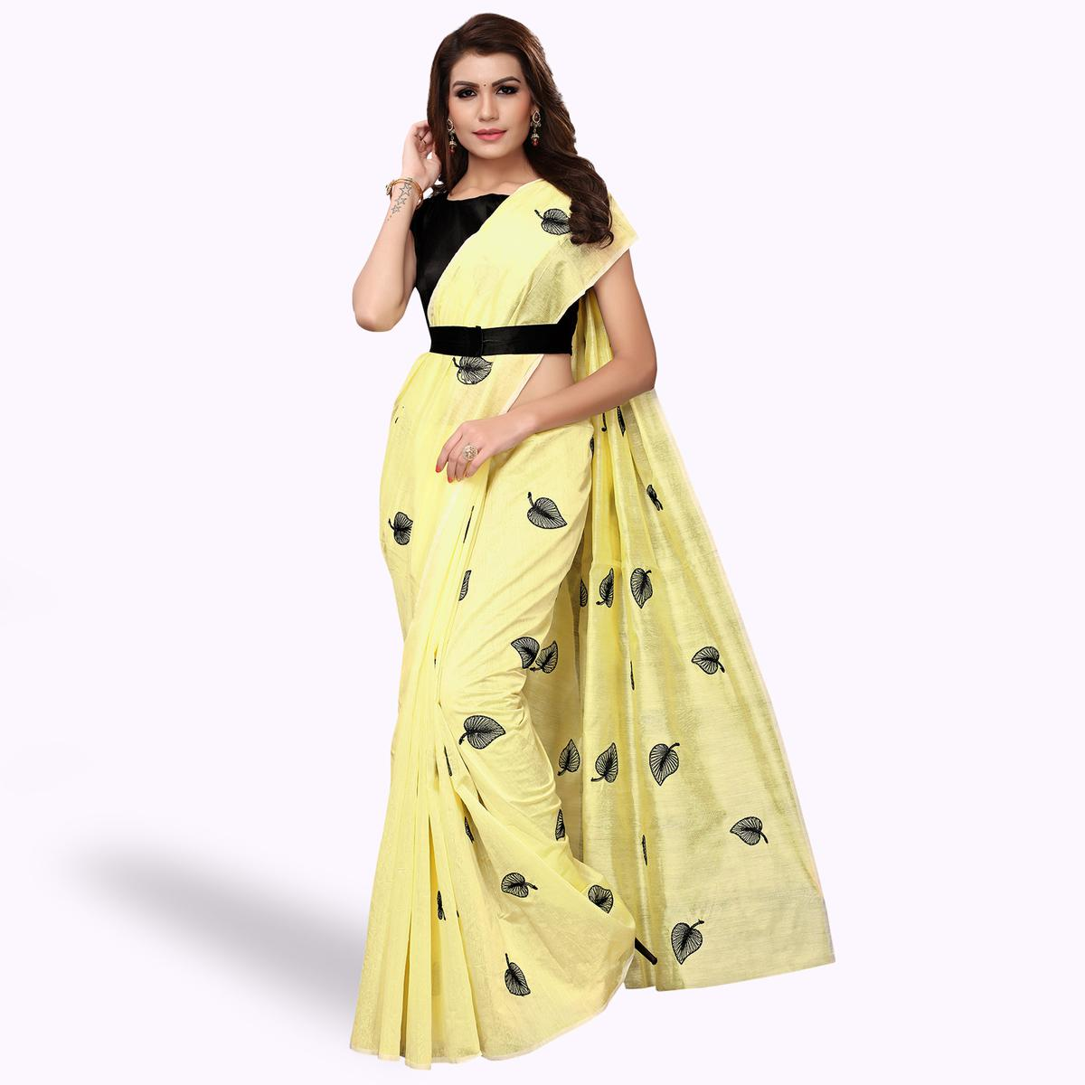 Mesmerising Yellow Colored Party Wear Embroidered Chanderi Silk Saree