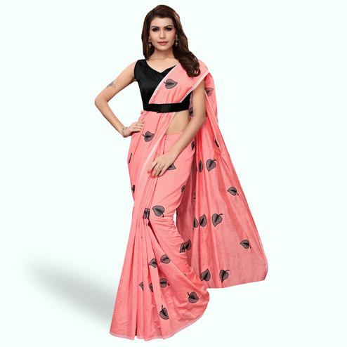 Breathtaking Peach Colored Party Wear Embroidered Chanderi Silk Saree