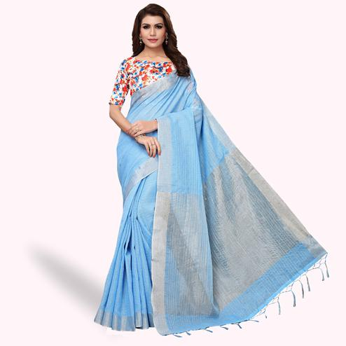 Staring Blue Colored Festive Wear Linen Saree