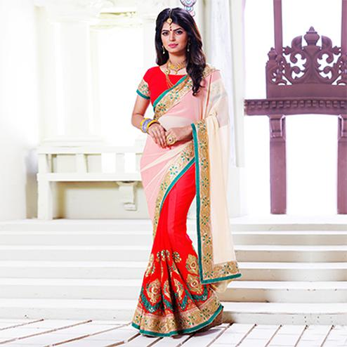 Red - Off White Embroidered Half Saree