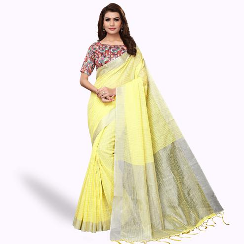Dazzling Lemon Yellow Colored Festive Wear Linen Saree