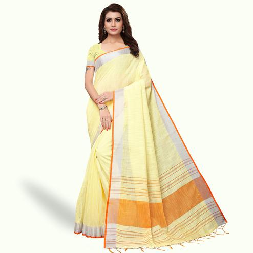 Surpassing Lemon Yellow Colored Festive Wear Linen Saree