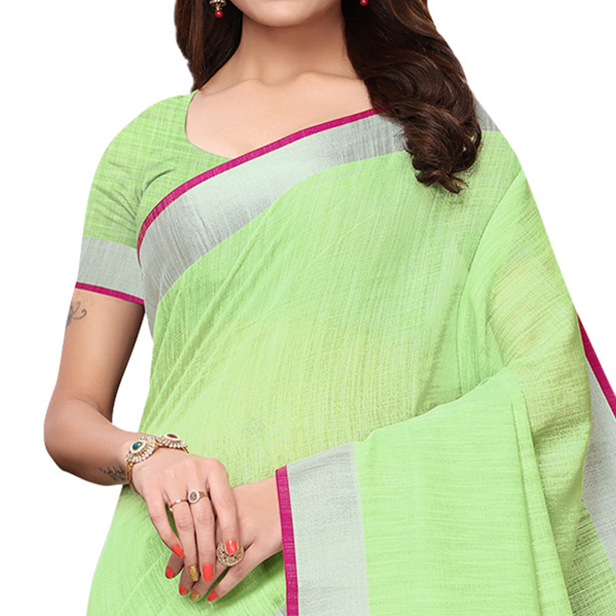 Intricate Green Colored Festive Wear Linen Saree