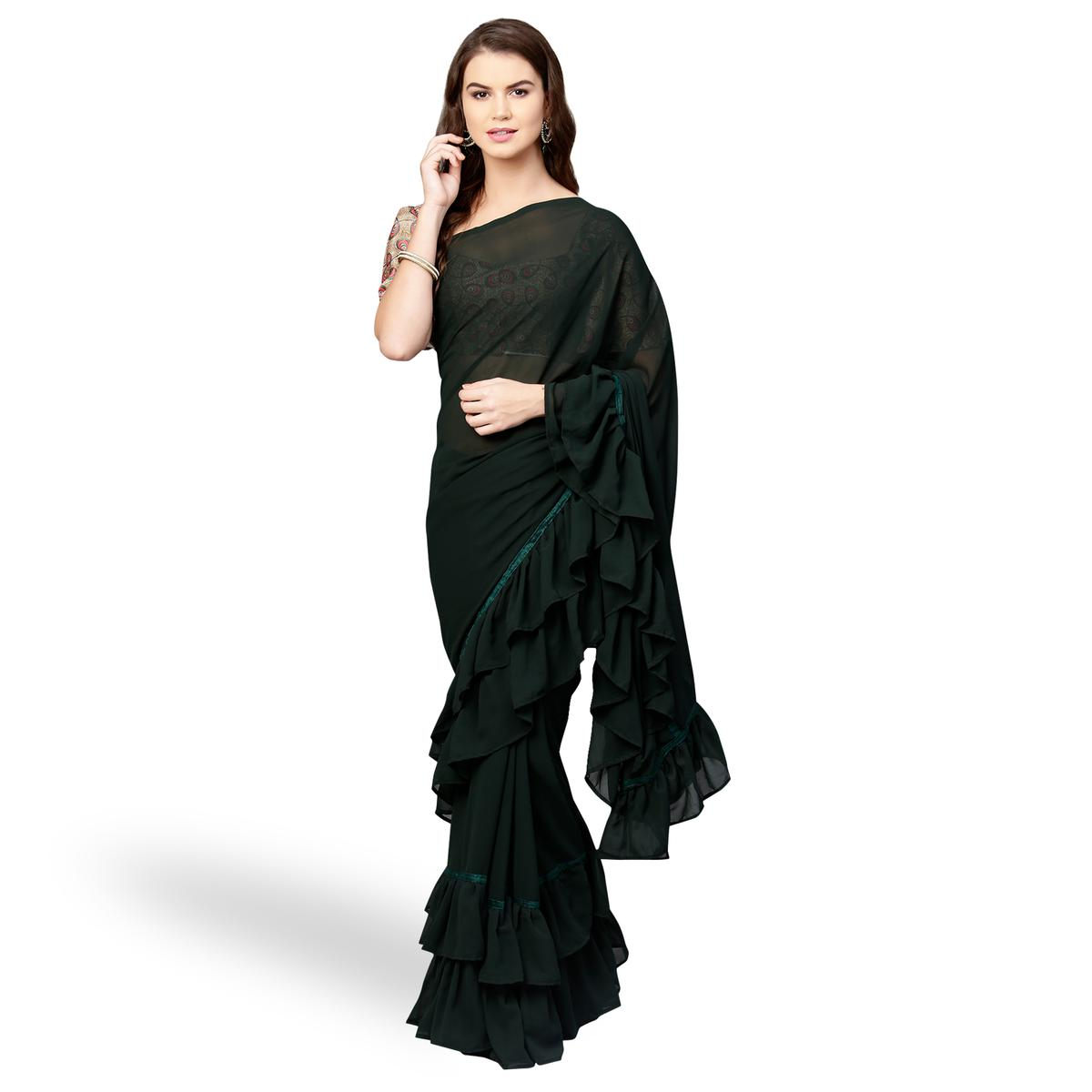 Desirable Black Colored Party Wear Fancy Georgette Saree