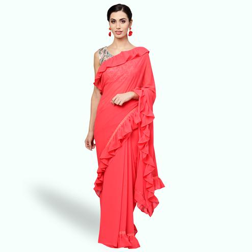 Sophisticated Coral Red Colored Party Wear Fancy Georgette Saree
