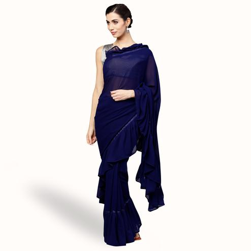 Trendy Navy Blue Colored Party Wear Fancy Georgette Saree
