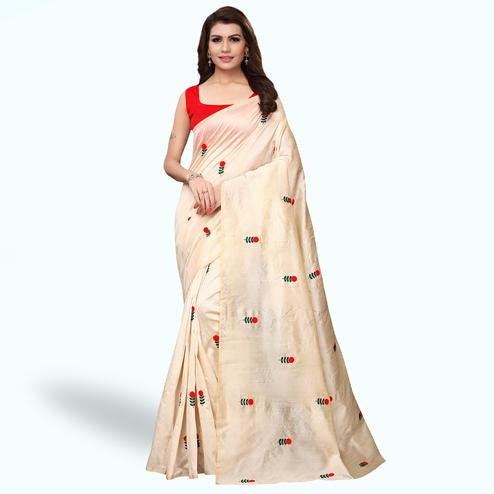Pleasant Cream Colored Festive Wear Embroidered Bhagalpuri Silk Saree