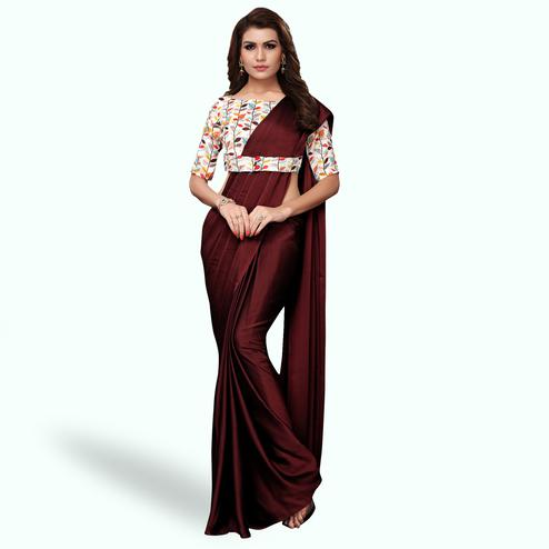 Opulent Coffee Brown Colored Party Wear Art Silk Saree