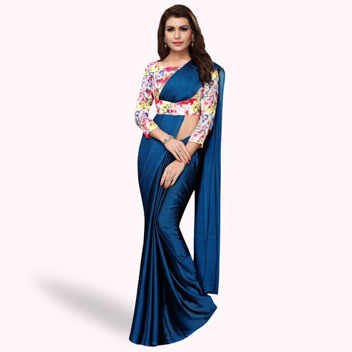 Energetic Navy Blue Colored Party Wear Art Silk Saree