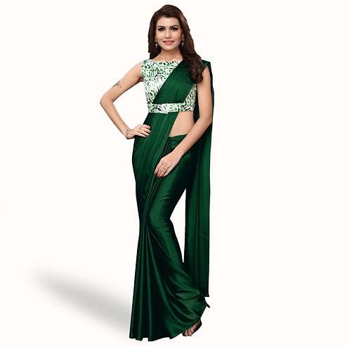 Glowing Dark Green Colored Party Wear Art Silk Saree